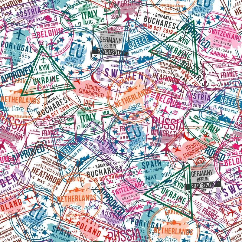 Paszportowi wiza znaczki, bezszwowy wzór Międzynarodowego i imigracyjnego biura pieczątki samolotowa tła pojęcia kuli ziemskiej i ilustracja wektor