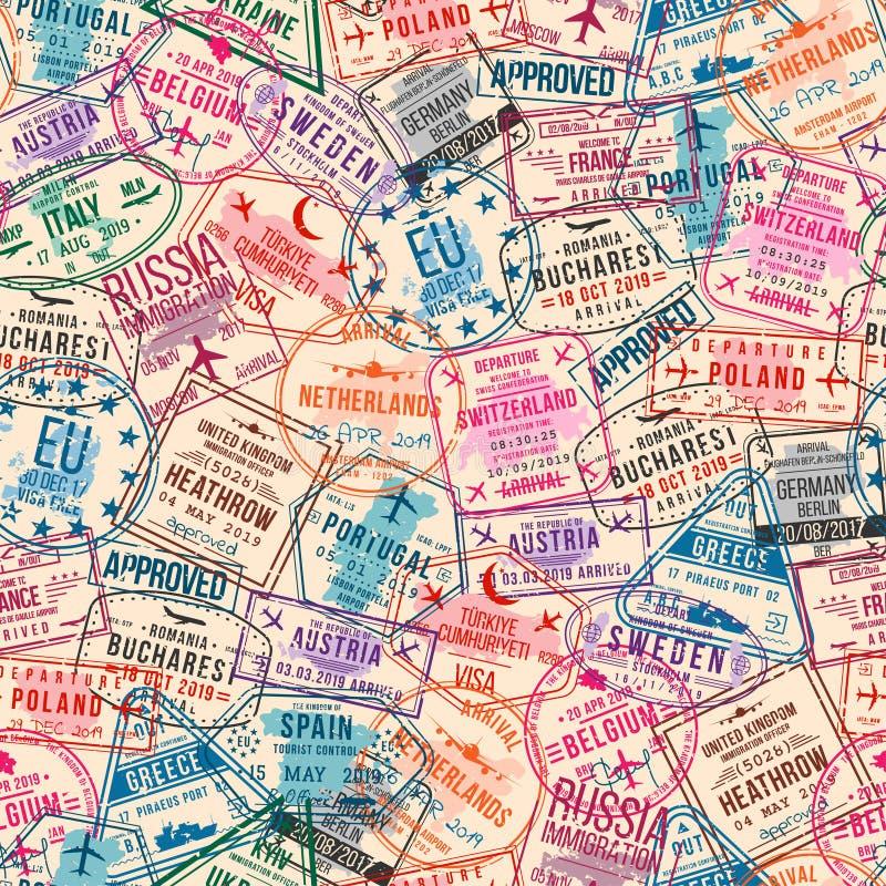 Paszportowi wiza znaczki, bezszwowy wzór Międzynarodowego i imigracyjnego biura pieczątki samolotowa tła pojęcia kuli ziemskiej i royalty ilustracja