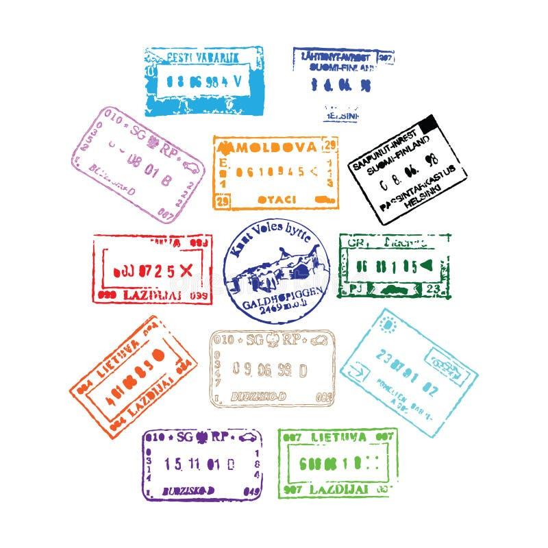 paszportowi znaczki royalty ilustracja