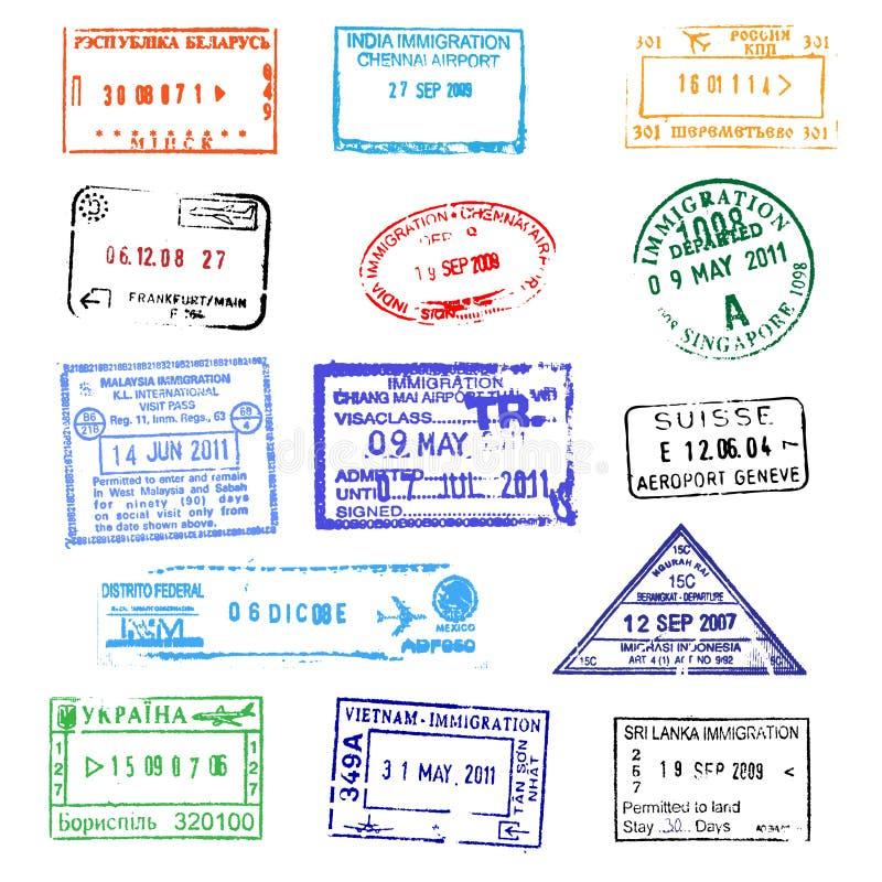 paszportowi znaczki ilustracji