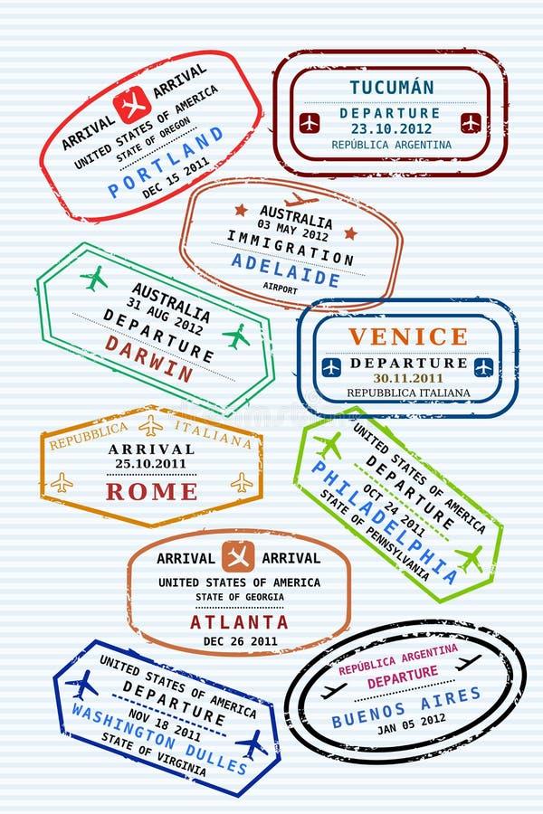 paszportowi znaczki ilustracja wektor