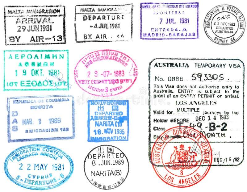Paszportowi znaczki i wiza ilustracji
