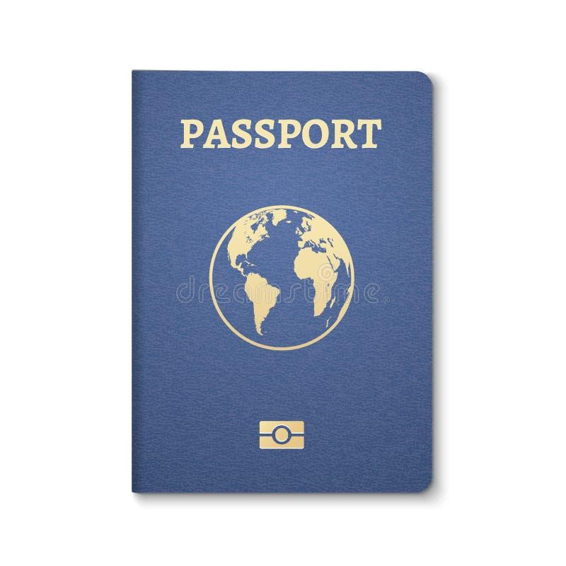 Paszportowy dokument ID Międzynarodowa przepustka dla turystyki podróży Emigracyjny paszportowy mieszkana ID z kulą ziemską royalty ilustracja