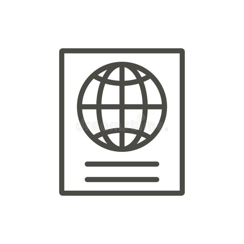 Paszportowy ikona wektor Lineidentity dokumentu symbol odizolowywający Tre ilustracja wektor