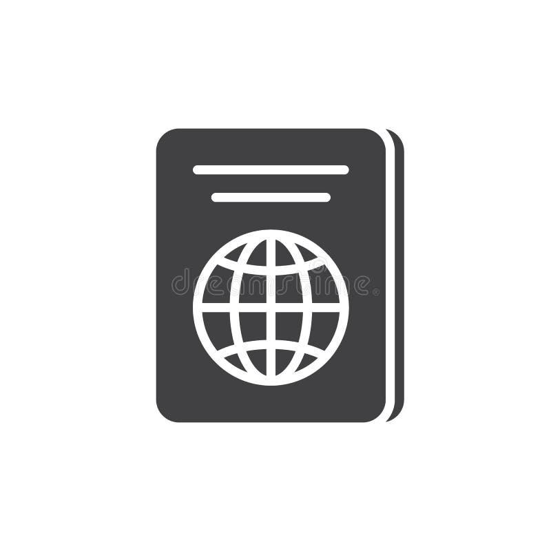 Paszportowy ikona wektor, wypełniający mieszkanie znak, stały piktogram odizolowywający na bielu ilustracja wektor