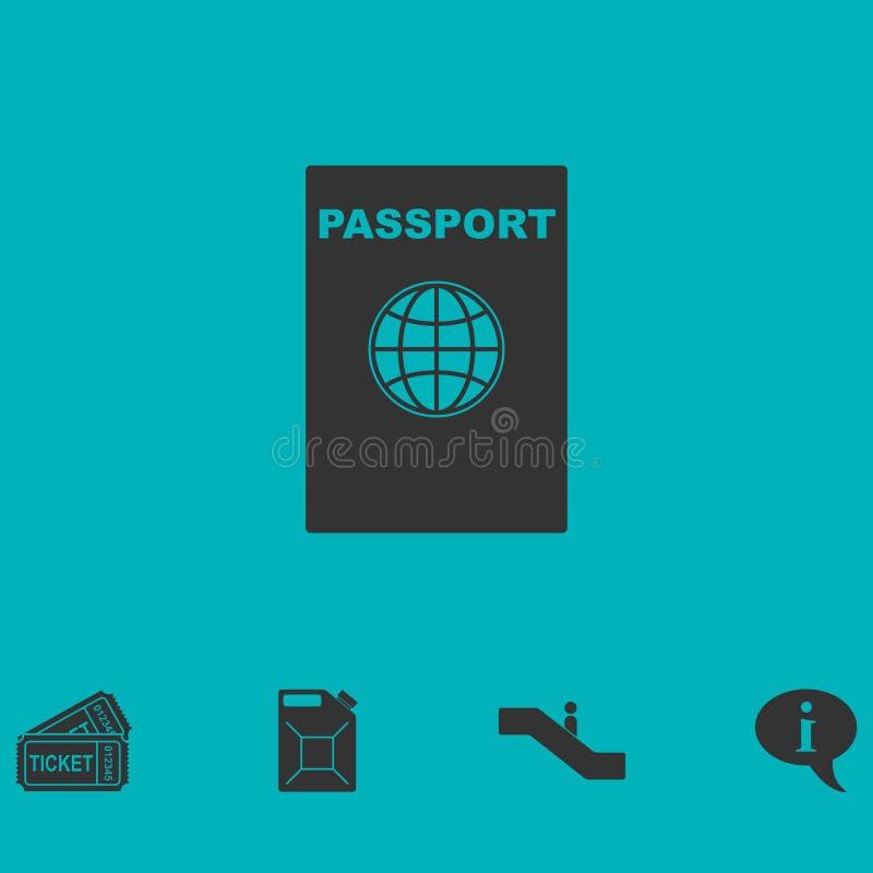 Paszportowy ikony mieszkanie ilustracji