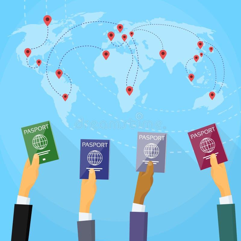 Paszportowy ręka dokument podróżny Światowej mapy mieszkanie ilustracja wektor