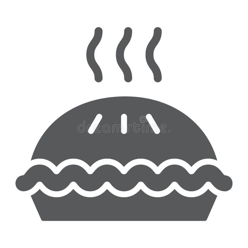 Pasztetowa glif ikona, ciasto i jedzenie, torta znak, wektorowe grafika, bryła wzór na białym tle royalty ilustracja
