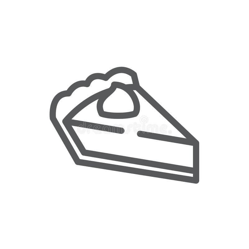 Pasztetowego trójgraniastego kawałka piksla perfect ikona z editable uderzeniem - cukierki piec ciasto dekorował z śmietanką ilustracji