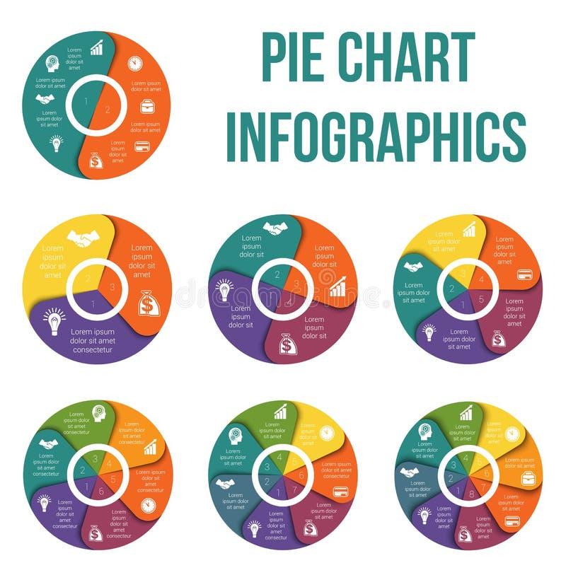Pasztetowej mapy diagrama dane elementy Dla szablonu infographic Infogr ilustracja wektor