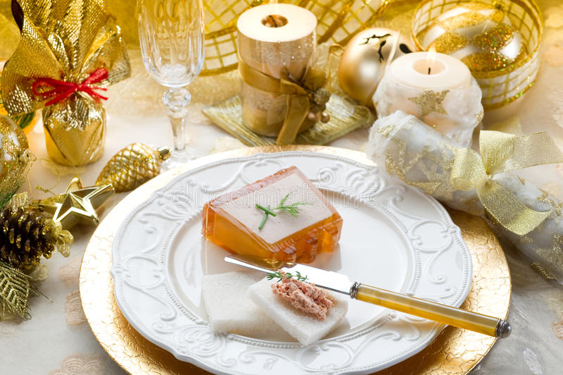 Paté na tabela do Natal fotografia de stock