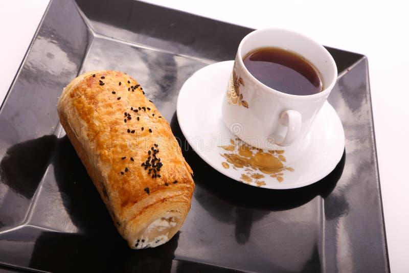 Paté with Tea. On black Tray royalty free stock image