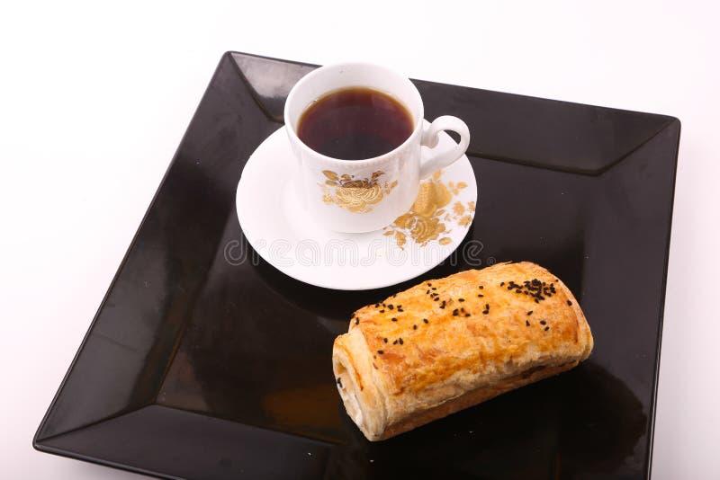 Paté with Tea. On black Tray stock photography