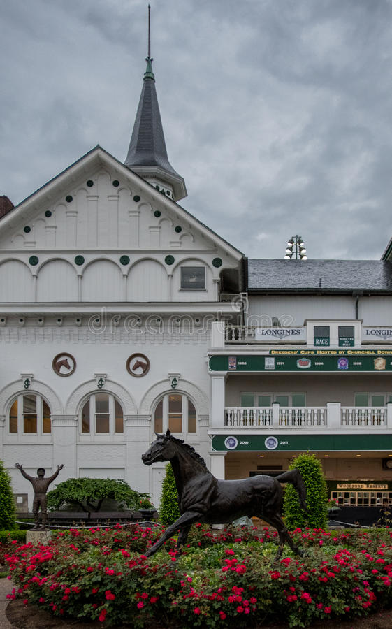Pat Day and Aristides Statue at Churchill Downs. Louisville, United States: May 4, 2017: Pat Day and Aristides Statue at Churchill Downs stock image