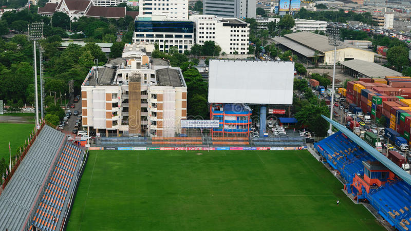 PAT Football stadium aerial view. Bangkok, Thailand - October 1, 2015 : PAT Football stadium aerial view. PAT Stadium is a stadium in the Khlong Toei district stock image