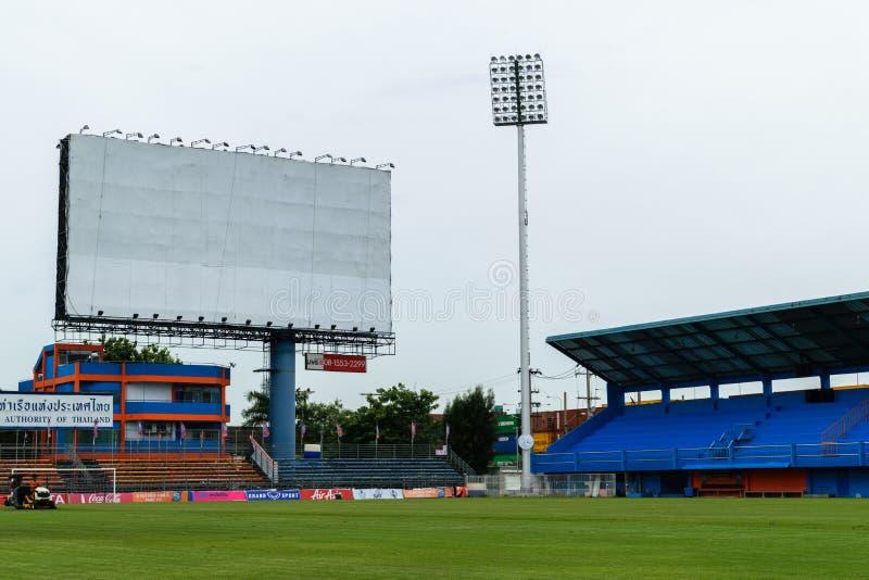 PAT Football stadium with blank billboard. Bangkok, Thailand - September 15, 2015 : PAT Football stadium with blank billboard. PAT Stadium is a stadium in the royalty free stock photo