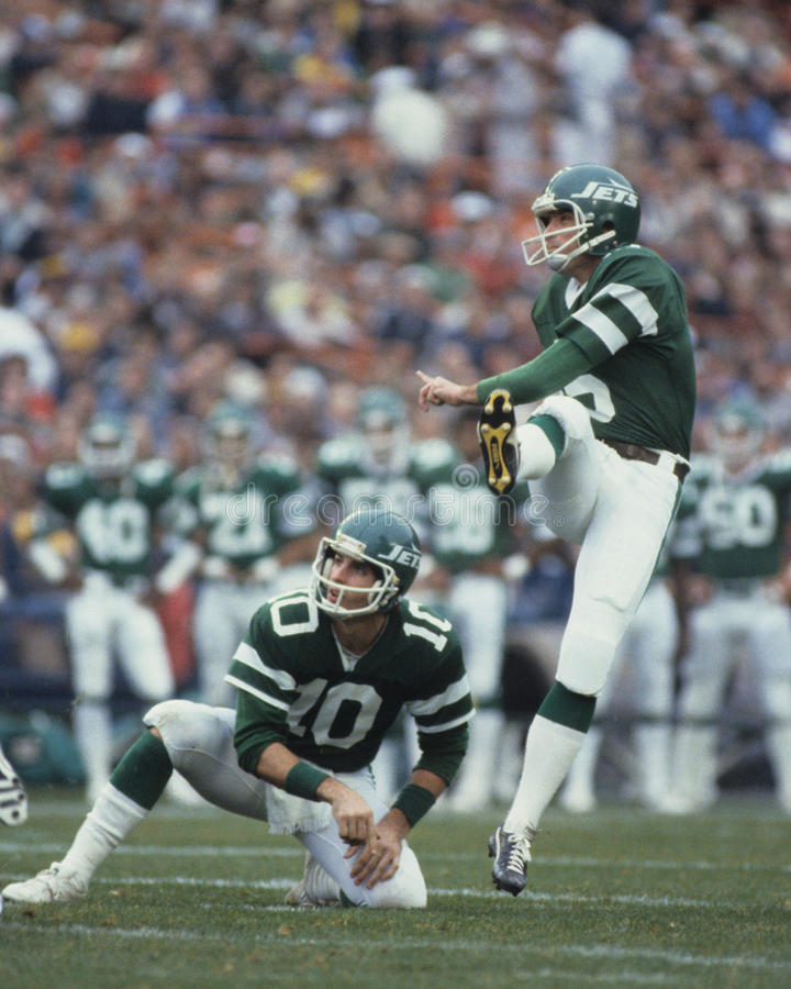 Pat Leahy. New York Jet kicker Pat Leahy, (Image taken from color slide royalty free stock photography