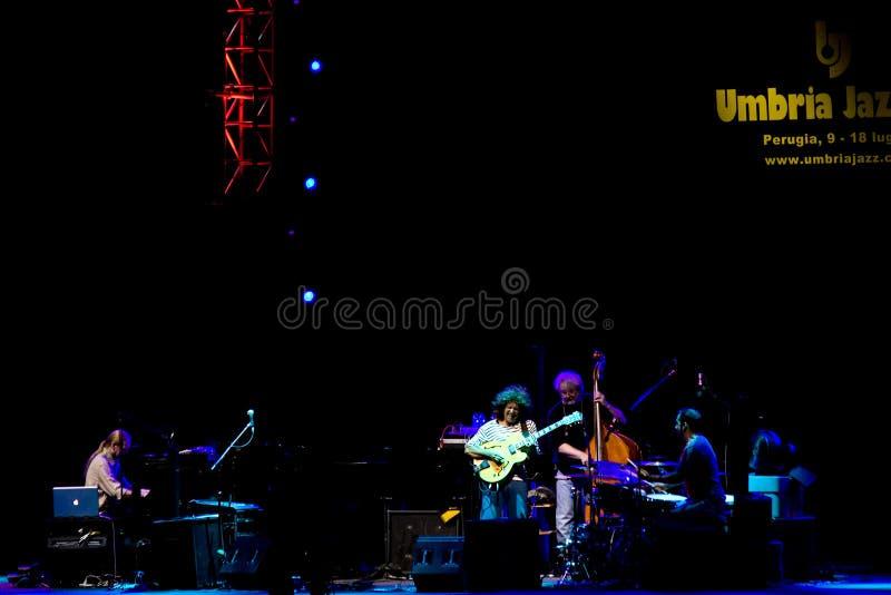 Pat Metheny Group at Umbria Jazz Festival. PERUGIA, ITALY - JULY 15, 2010 - Pat Metheny Group (Pat Metheny -guitar, Lyle Mays -keyboards, Steve Rodby -bass stock photos