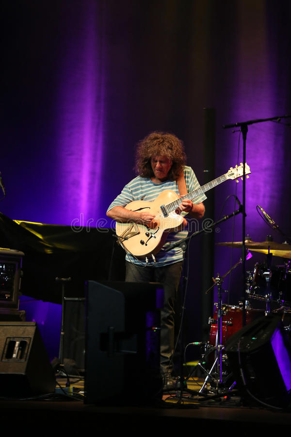 Pat Metheny. Playing on acoustic guitar at Summer Jazz Festival in Cracow, Poland royalty free stock photography