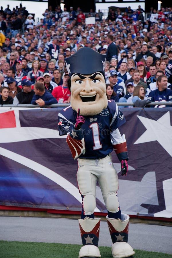 Pat Patriot at Patriots game. Pat Patriot Mascot for the New England Patriots NFL Football Team at Gillette Stadium. New England Patriots vs. the Dallas Cowboys stock image