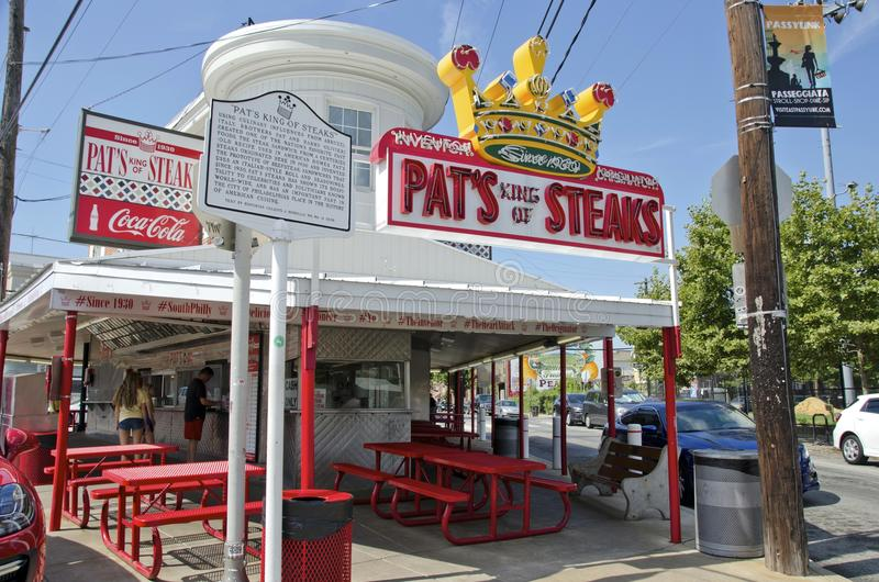Pat's Steaks. Famous Pat's King of Steaks where the cheesesteak sandwich was invented. The food stand is at the end of the 9th street italian market royalty free stock image