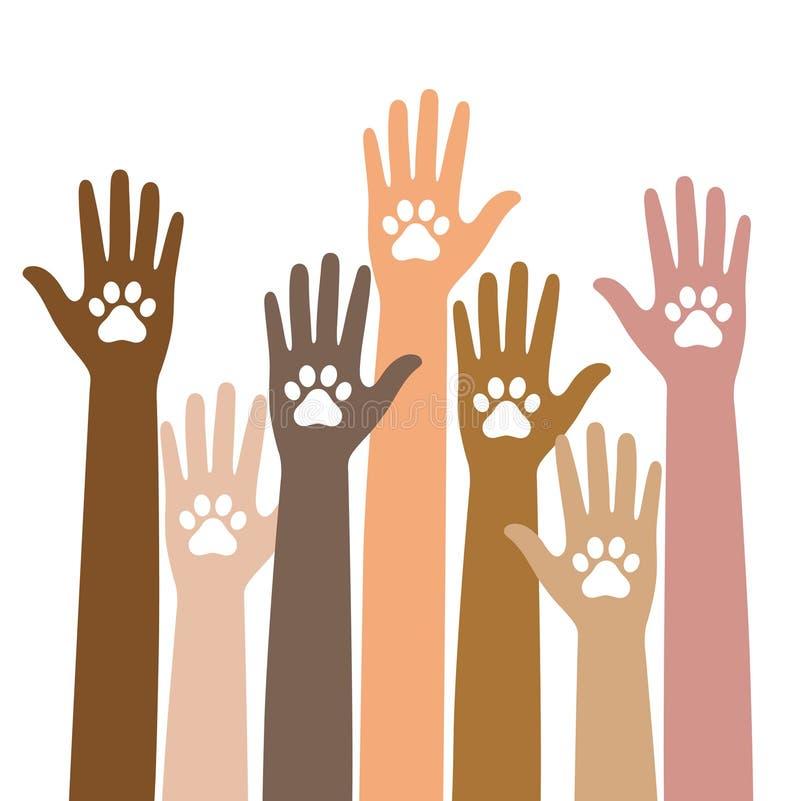 Pata animal del perro en la mano de la gente, ayuda humana Dé sostener las patas - protección animal en el fondo del corazón ilustración del vector