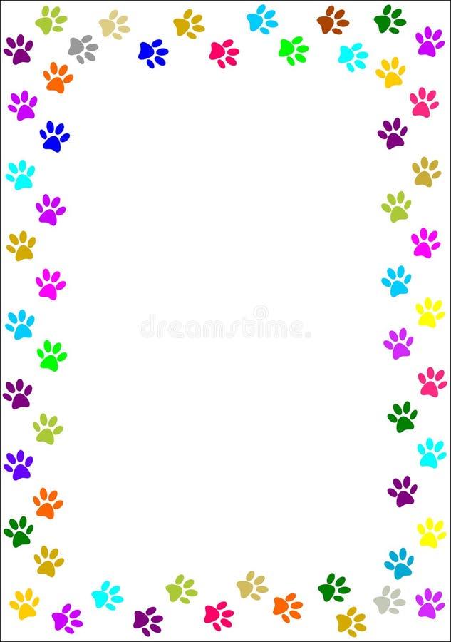 A pata colorida imprime a beira. ilustração stock