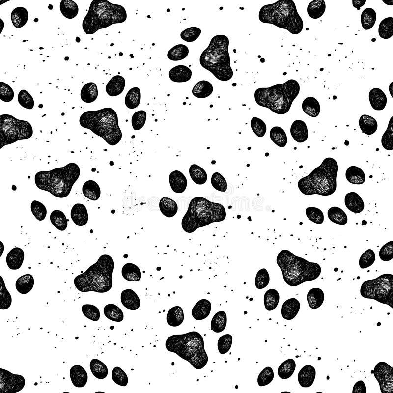 Pata de la textura del vector de la impresión del perro ilustración del vector