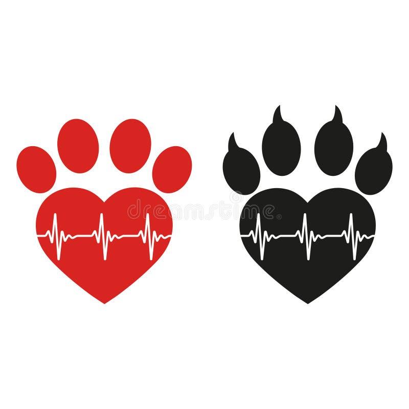 Pata de un perro en la forma de un corazón con un pulso libre illustration
