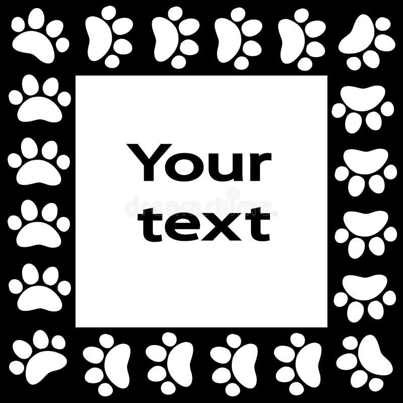 A pata do gato ou do cão imprime o quadro para seu fundo do texto ilustração royalty free
