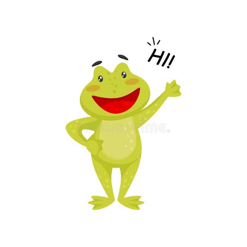 Pata que agita de la rana amistosa y el decir hola Sapo verde alegre Elemento plano del vector para el libro de niños libre illustration