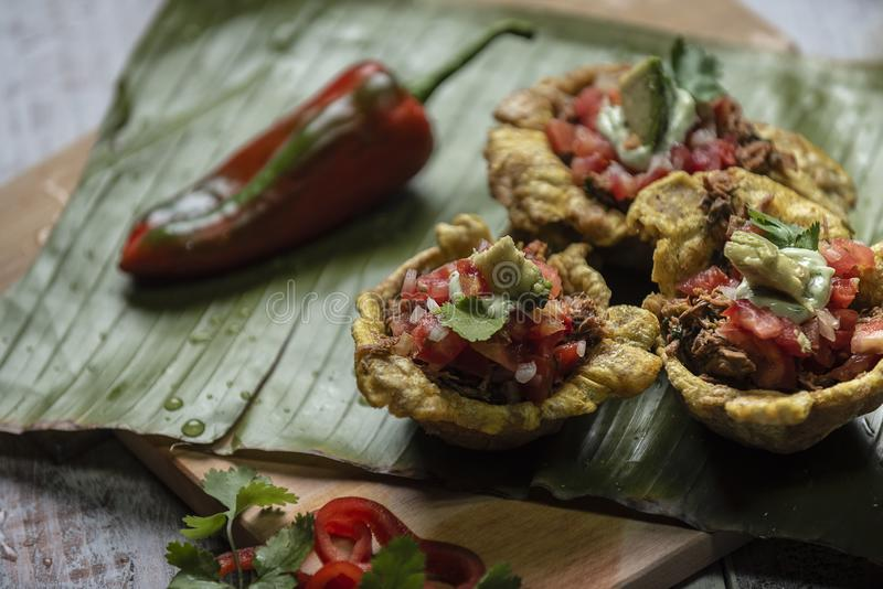 Patacon med griskött och tomater royaltyfri foto