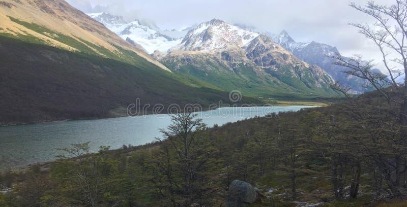 Patagonia湖和山与森林 免版税库存照片