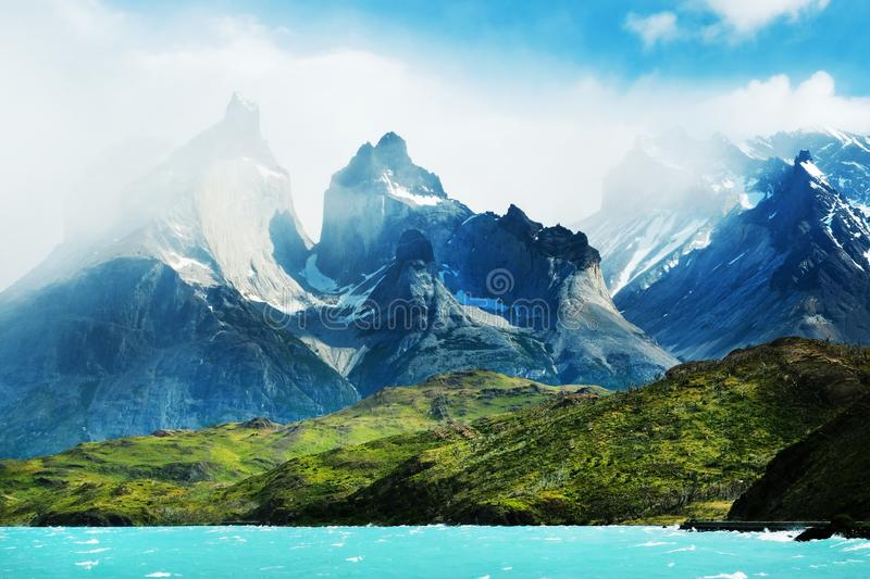 Patagonia, Chile - Torres del Paine. Majestic peaks of Los Kuernos over Lake Pehoe. The national park Torres del Paine, Patagonia stock photo
