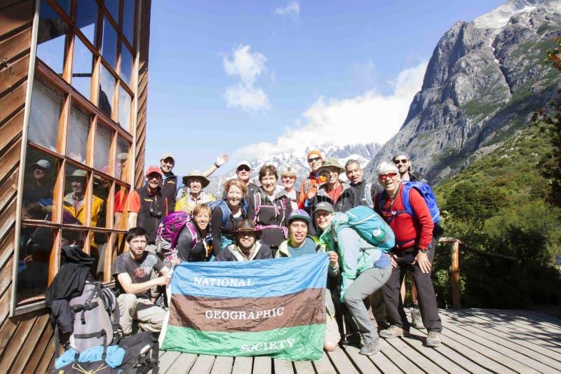 Patagonia de trekking avec National Geographic photographie stock libre de droits