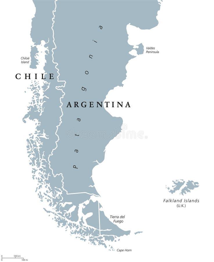 Patagonia i Falkland wysp polityczna mapa ilustracja wektor
