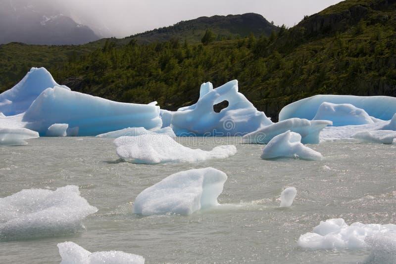 Patagonia - Largo Popielaty - Chile zdjęcie stock