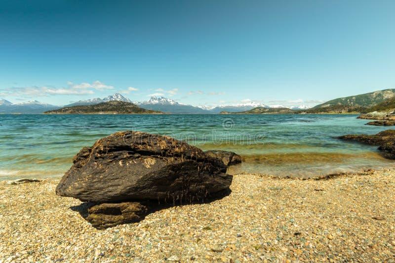 Patagonia plaża w Ushuaia, Argentyna zdjęcie stock