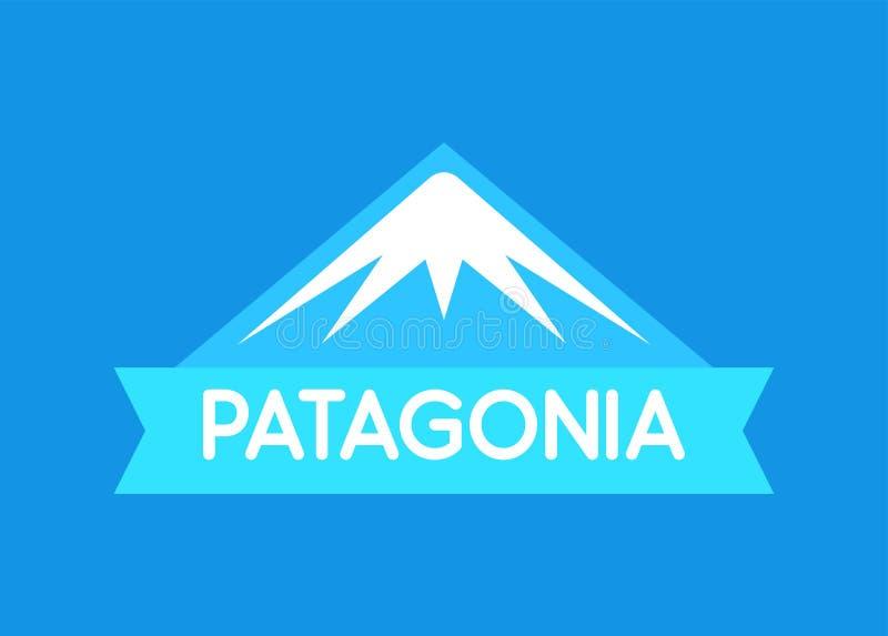 Patagonia vektoremblem i blå färg av söder - amerikansk Patagonia - emblem för lopp- och turismwebbplats vektor illustrationer