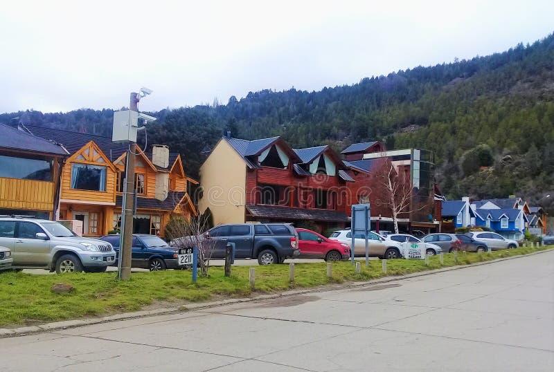 patagonia Villa Langostura, liten grannskap i Argentina arkivfoton