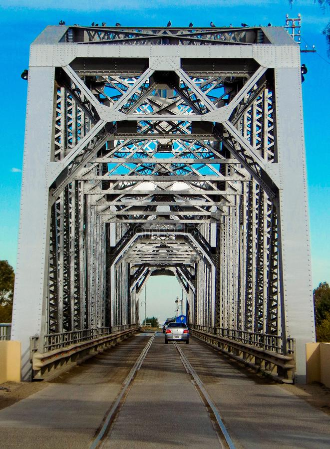 Patagonian bridge that joins the provinces of Buenos Aires and Rio Negro stock photography
