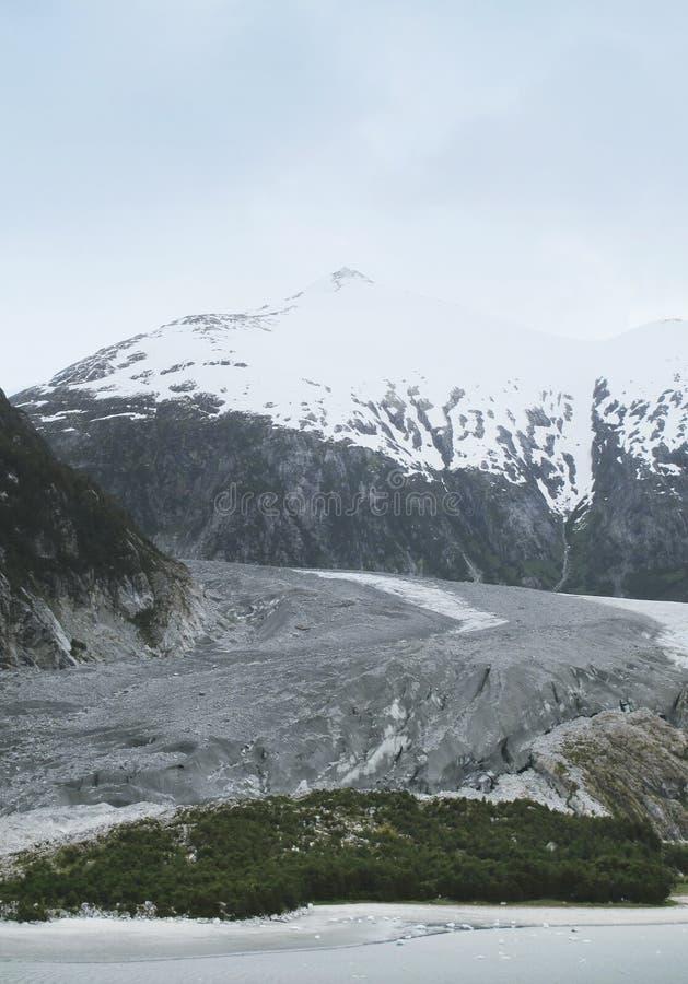 Patagonian krajobraz z lodowem, jeziorem i górą, zdjęcia royalty free