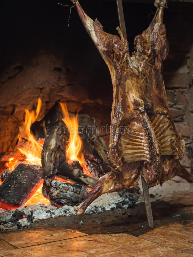 Patagonian roast lamb in Patagonia royalty free stock image