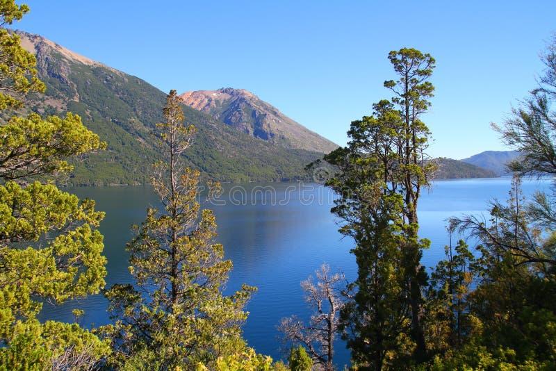 Patagonian See unter Bäumen - Bariloche stockfotos