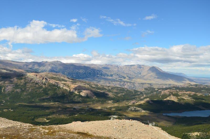 Patagonian skogdal i en solig dag royaltyfria bilder