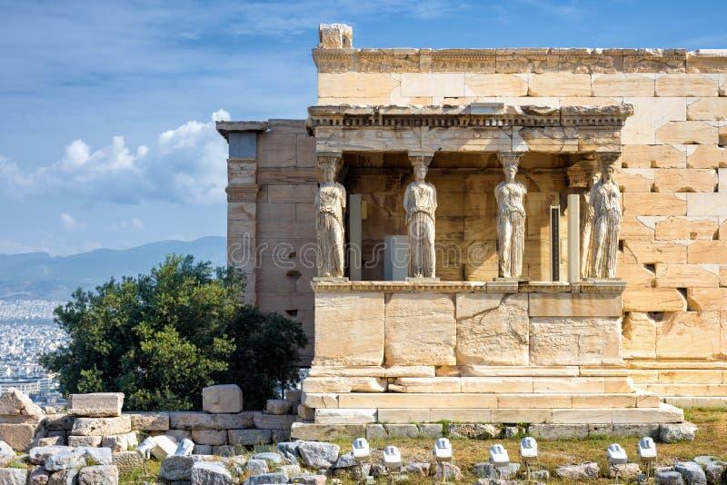 Patamar da cariátide de Erechtheion na acrópole, Atenas imagem de stock