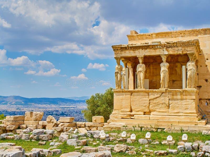 Patamar das cariátides, templo de Erechtheion Acrópole ateniense Atenas, Grécia fotos de stock royalty free