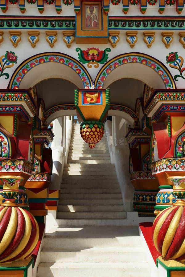 Patamar ricamente decorado no estilo do russo fotografia de stock