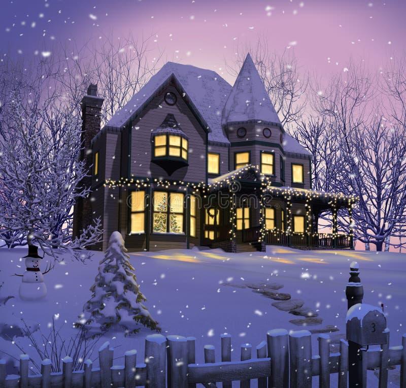 Patamar vitoriano encantador das luzes de Natal da casa ilustração stock