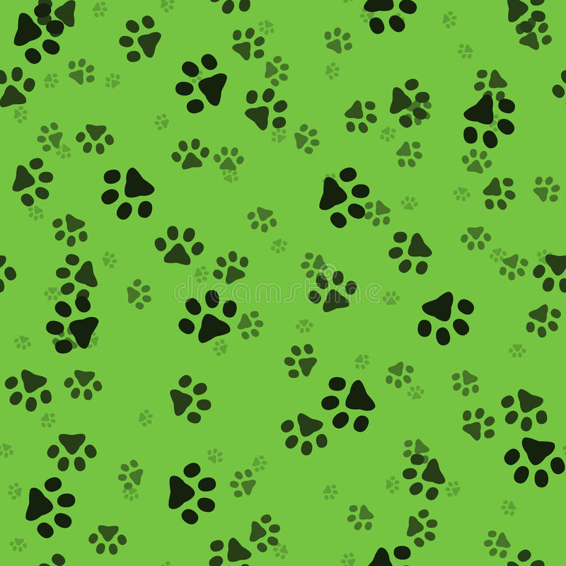 Patas animais Pegadas feitas sob medida aleatórias Teste padrão sem emenda Ilustração do vetor Verde ilustração royalty free